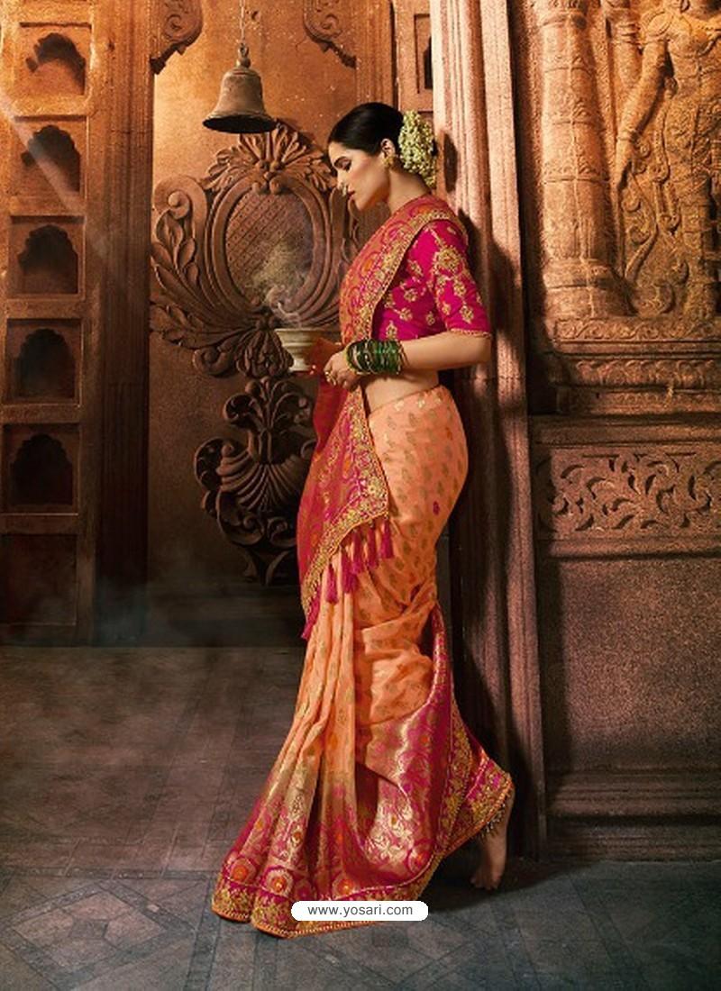 Orange Viscose Dolla Embroidered Designer Saree