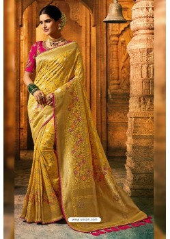 Yellow Viscose Dolla Embroidered Designer Saree
