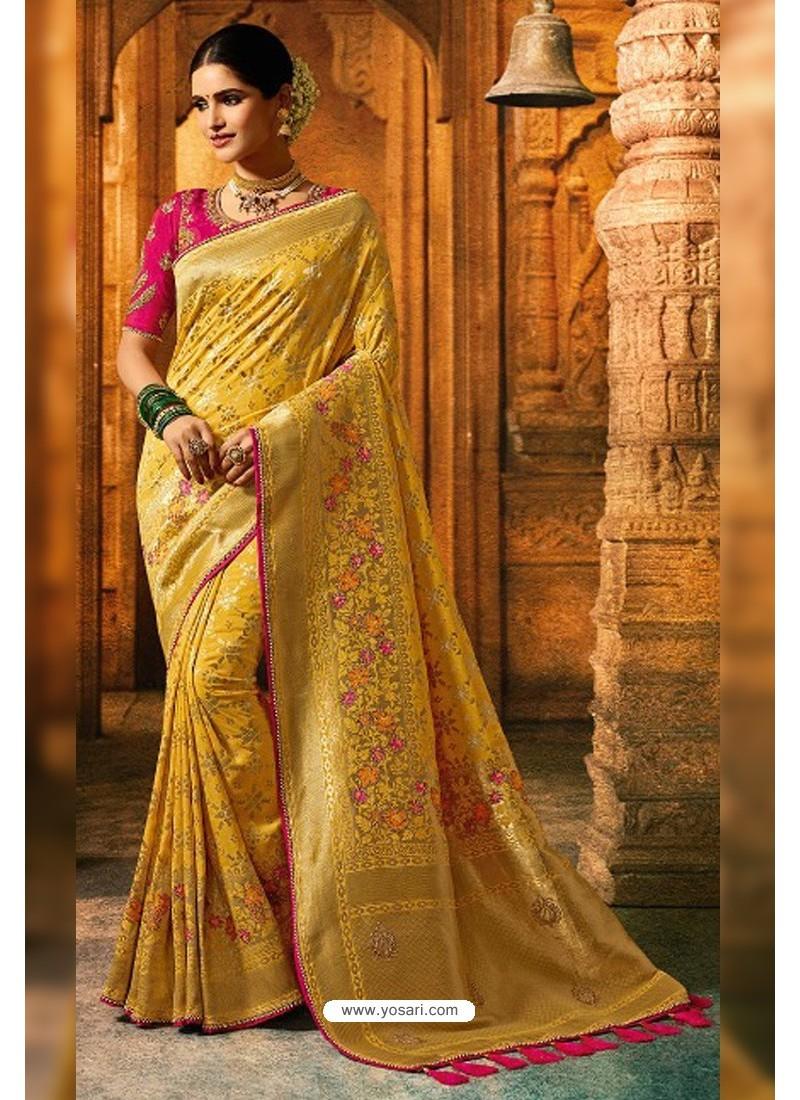Yellow Viscose Dolla Embroidered Designer Saree