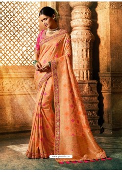 Light Orange Viscose Dolla Embroidered Designer Saree