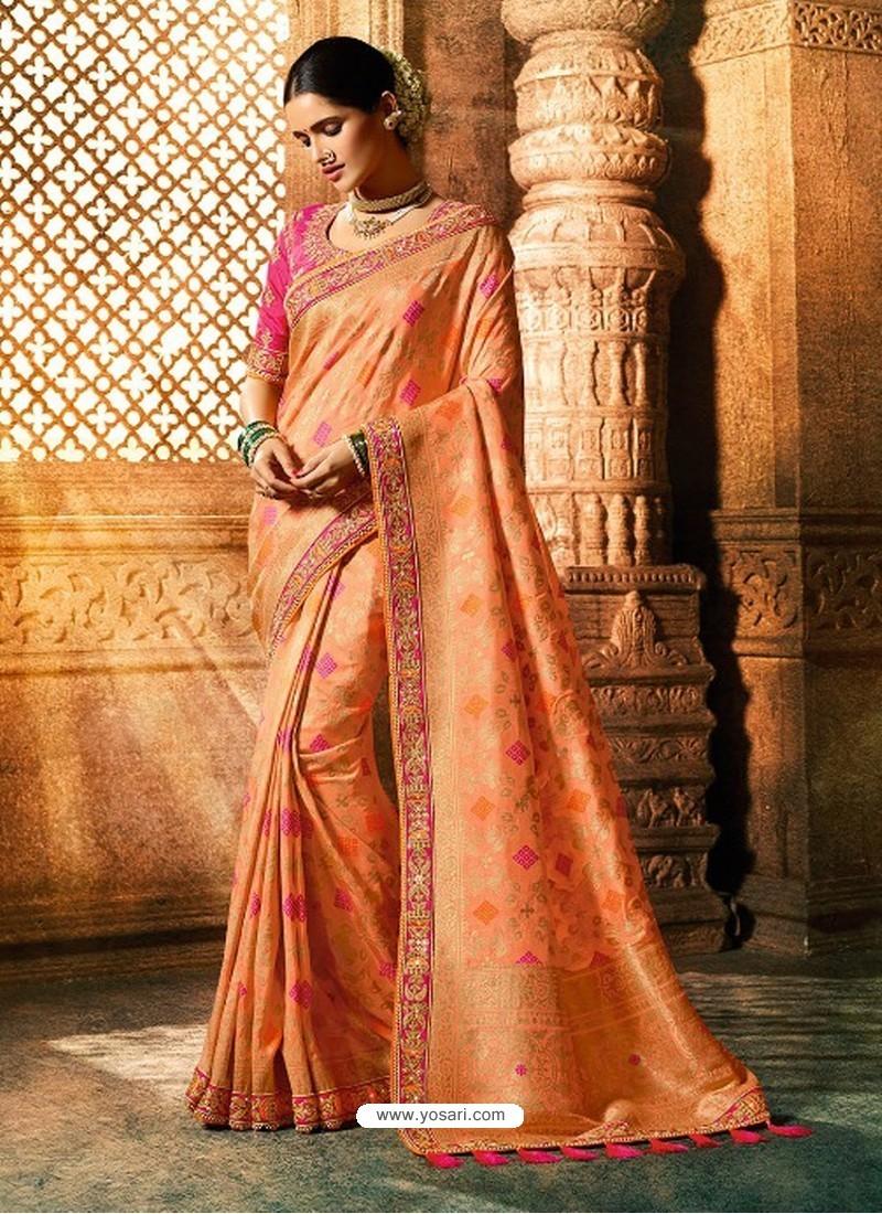 Light Orange Viscose Dolla Embroidered Designer Saree