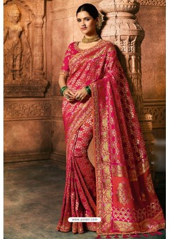 Rani Dola Silk Embroidered Designer Saree