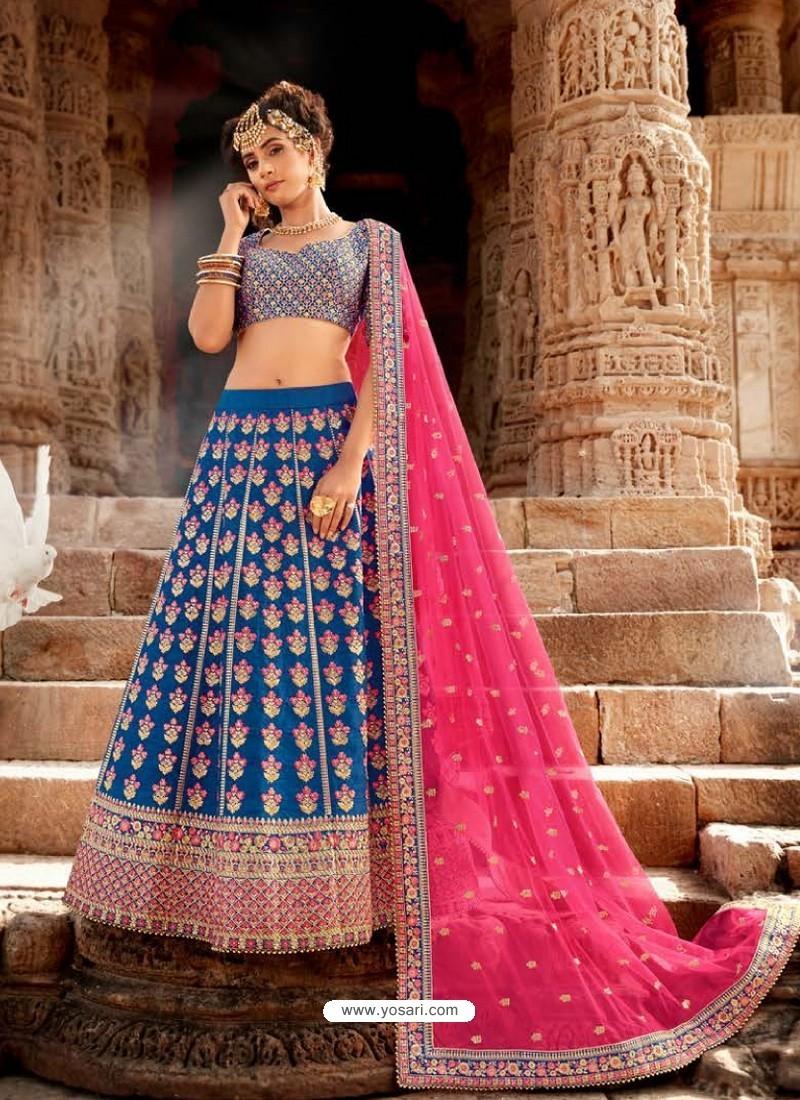 Teal Blue Handloom Silk Designer Lehenga Choli