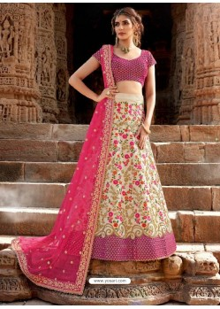 Cream and Pink Velvet Embroidered Designer Lehenga Choli