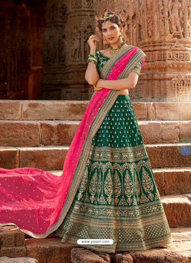 Dark Green Handloom Silk Designer Lehenga Choli