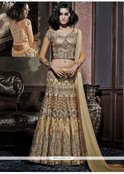 Zesty Beige Embroidered Work A Line Lehenga Choli