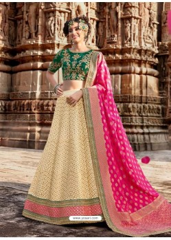 Cream And Green Handloom Silk Designer Lehenga Choli