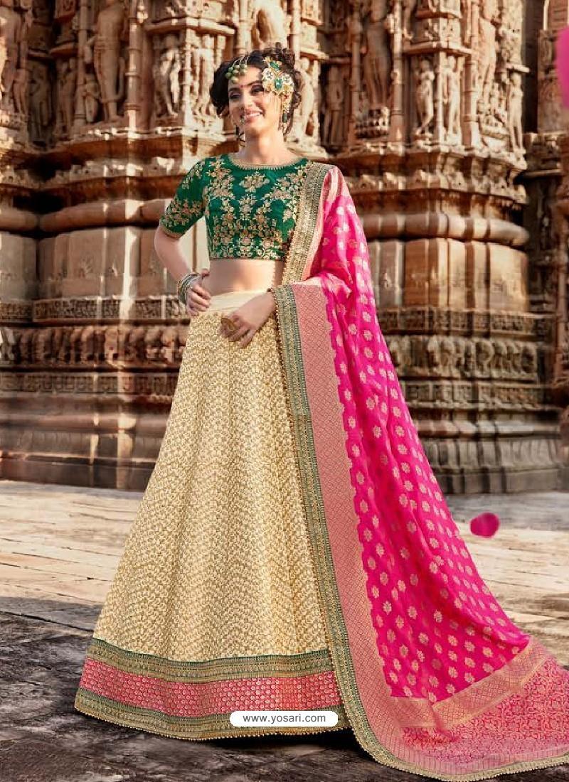 Cream And Green Handloom Silk Designer Lehenga Choli