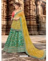 Rani And Green Jacquard Embroidered Designer Lehenga Choli