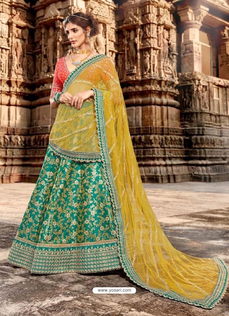 Rani And Green Jacquard Embroidered Designer Lehenga Choli