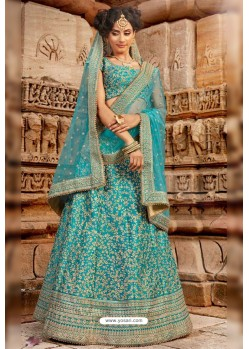 Turquoise Satin Silk Embroidered Designer Lehenga Choli