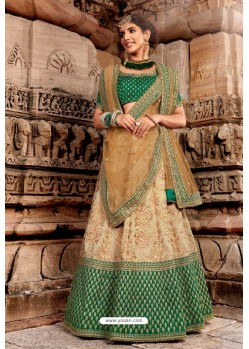 Dark Green And Beige Handloom Silk Designer Lehenga Choli