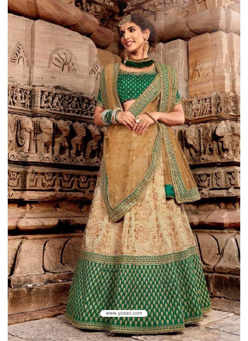 Dark Green And Beige Handloom Silk Designer Lehenga Choli