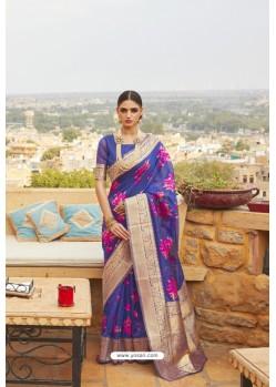 Royal Blue Linen Designer Party Wear Saree