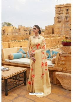 Cream Linen Designer Party Wear Saree