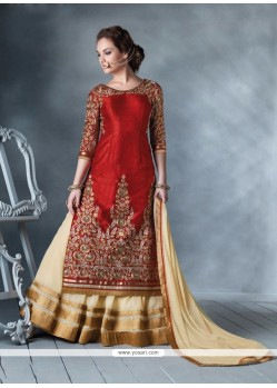 Fabulous Cream And Red Designer Lehenga Choli