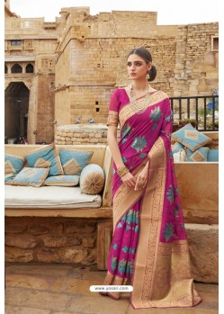 Medium Violet Linen Designer Party Wear Saree