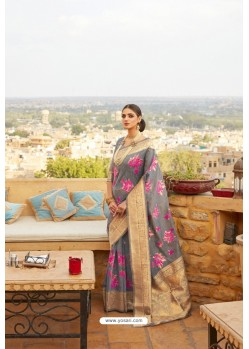 Grey Linen Designer Party Wear Saree