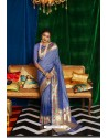 Blue Silk Party Wear Designer Saree
