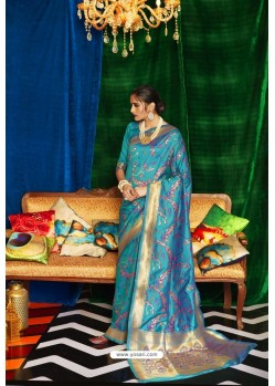 Teal Blue Silk Party Wear Designer Saree