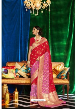 Red Silk Party Wear Designer Saree