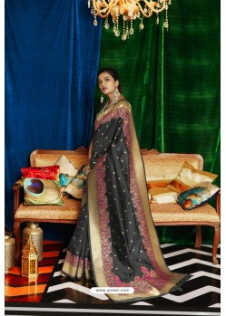 Black Silk Party Wear Designer Saree