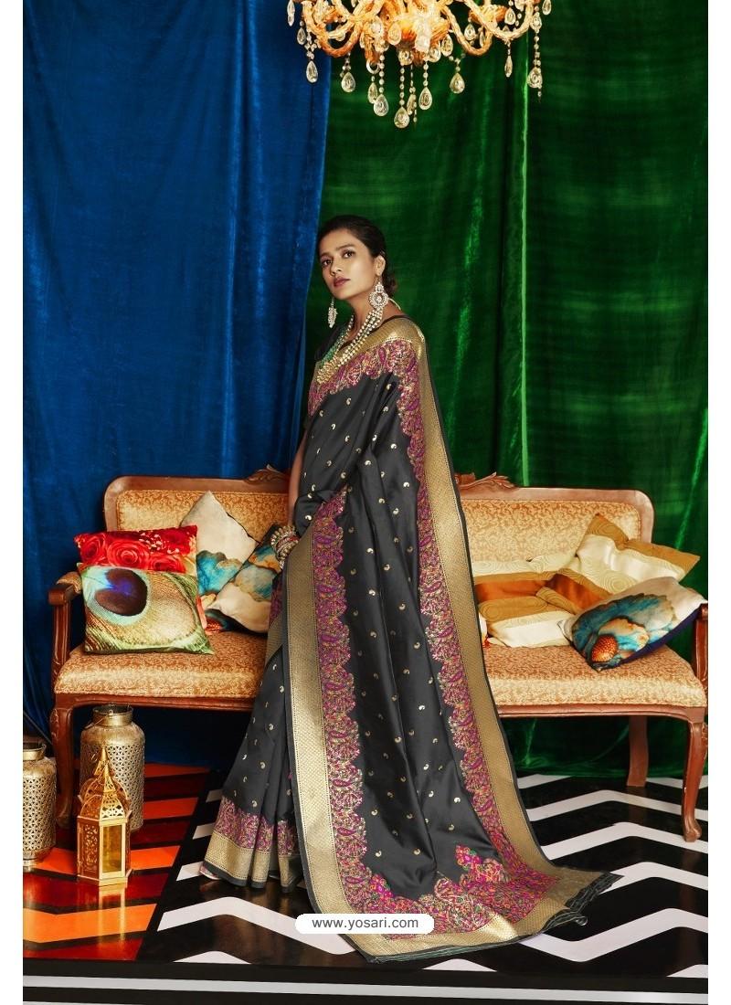 Black Silk Party Wear Designer Saree