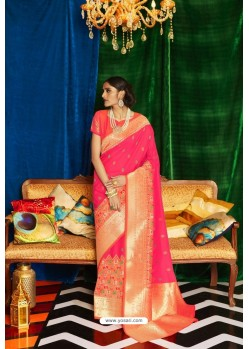 Fuchsia Silk Party Wear Designer Saree