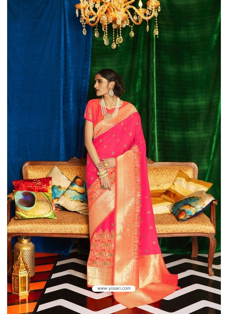 Fuchsia Silk Party Wear Designer Saree