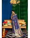 Navy Blue Silk Party Wear Designer Saree