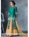 Distinguishable Cream And Green Designer Lehenga Choli