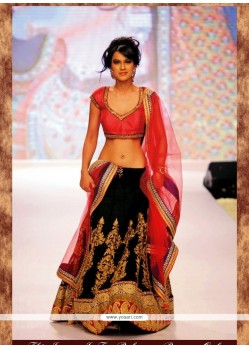 Nia Sharma Black Resham Work A Line Lehenga Choli