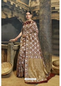 Brown Designer Banarasi Silk Saree