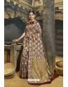 Brown Designer Banarasi Silk Saree