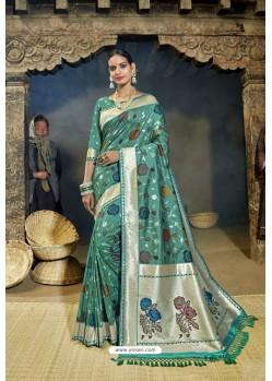 Teal Designer Banarasi Silk Saree