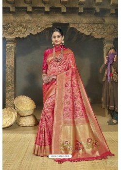 Rani Pink Designer Banarasi Silk Saree