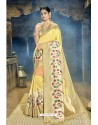 Light Yellow Designer Banarasi Silk Saree