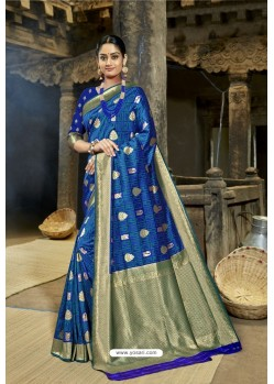 Royal Blue Designer Banarasi Silk Saree