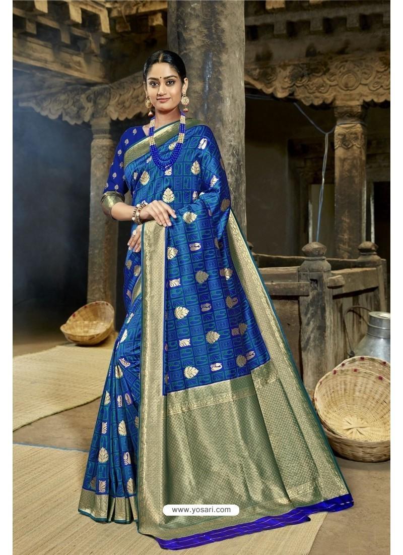 Royal Blue Designer Banarasi Silk Saree
