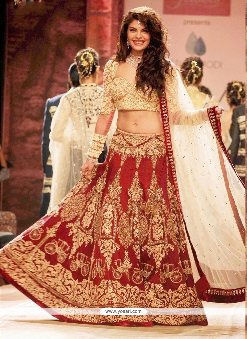 Red Zari Work Designer Lehenga Choli