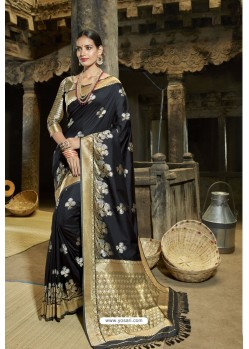 Black Designer Banarasi Silk Saree