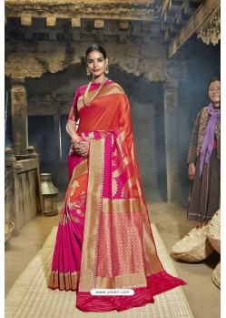 Red And Rani Designer Banarasi Silk Saree