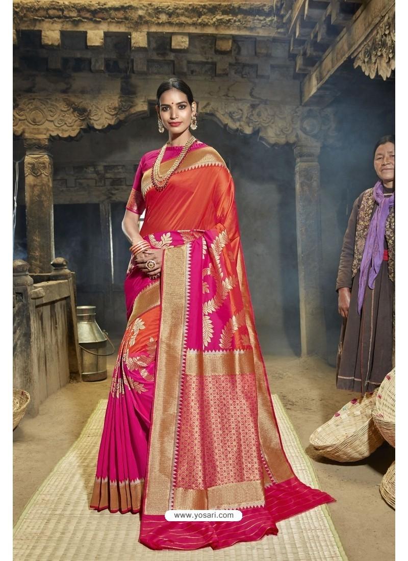 Red And Rani Designer Banarasi Silk Saree