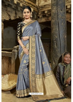 Stylish Grey Designer Banarasi Silk Saree