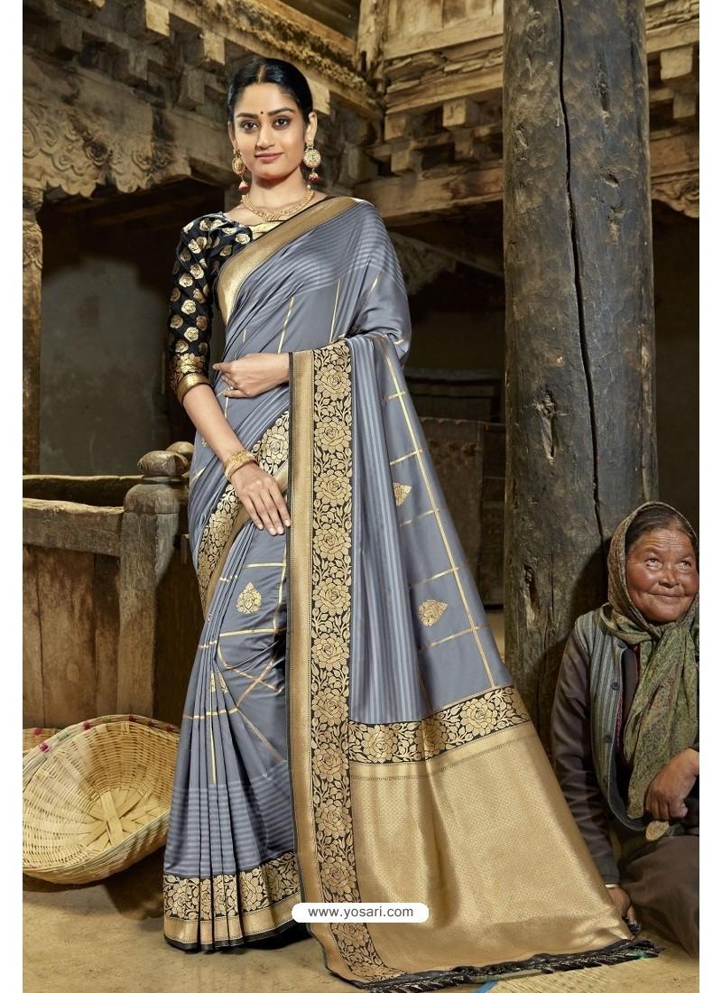 Stylish Grey Designer Banarasi Silk Saree