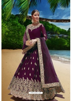 Wine Heavy Faux Georgette Floor Length Suit