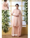 Peach Georgette Thread Embroidered Party Wear Suit