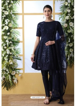 Navy Blue Georgette Thread Embroidered Party Wear Suit