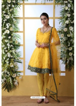 Yellow Art Silk Thread Embroidered Party Wear Suit