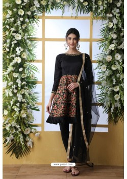 Black Art Silk Thread Embroidered Party Wear Suit